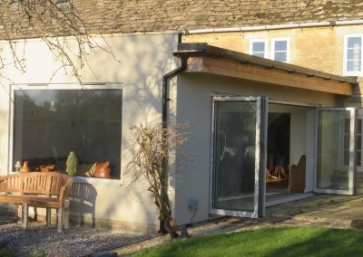 New kitchen and family room extension with colour render finish